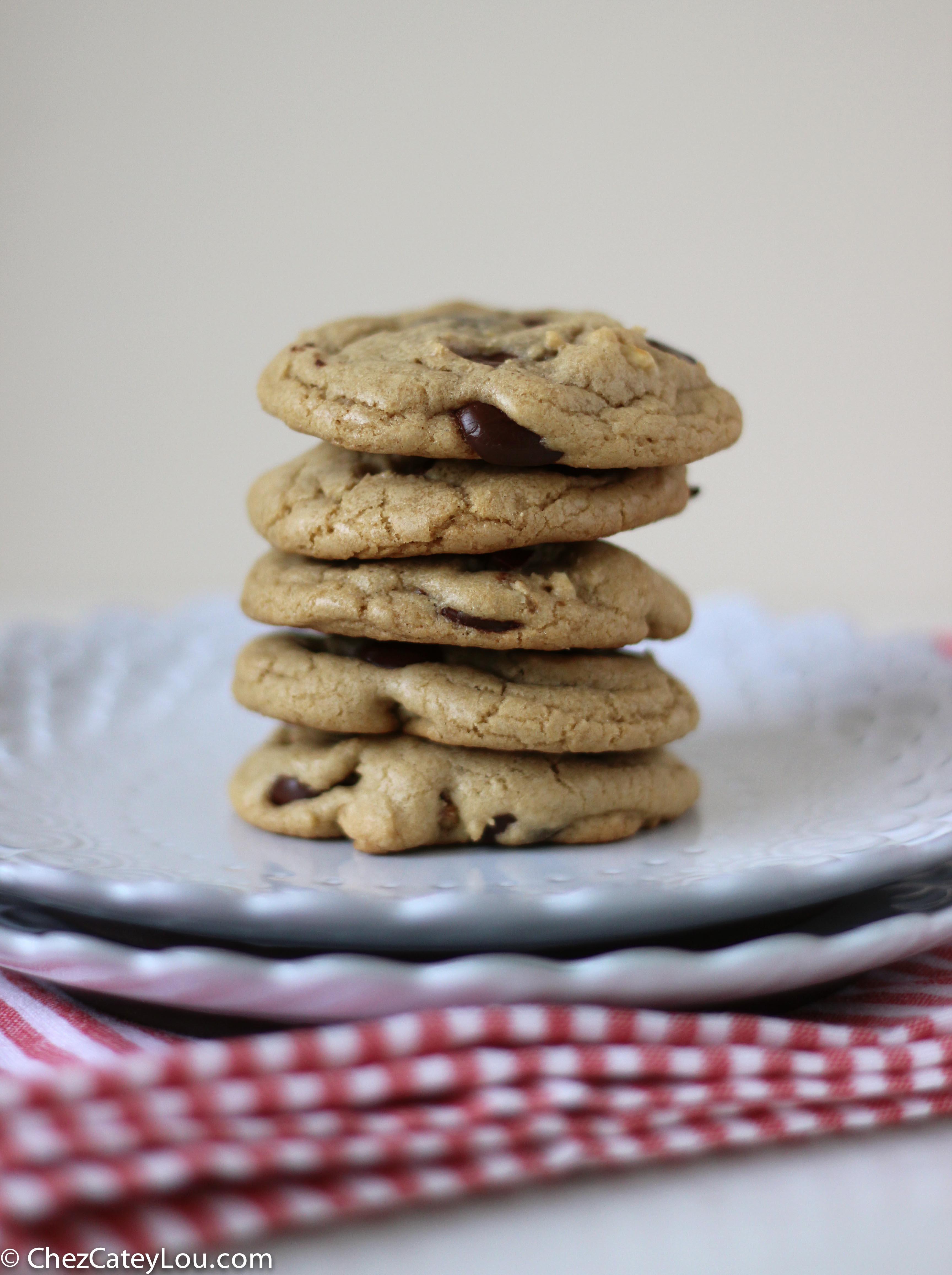 Dark Chocolate Chip Walnut Coconut Oil Cookies