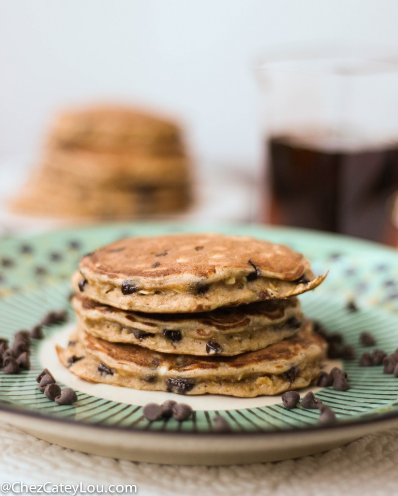 Single Serving Healthy Chocolate Chip Pancakes | chezcateylou.com