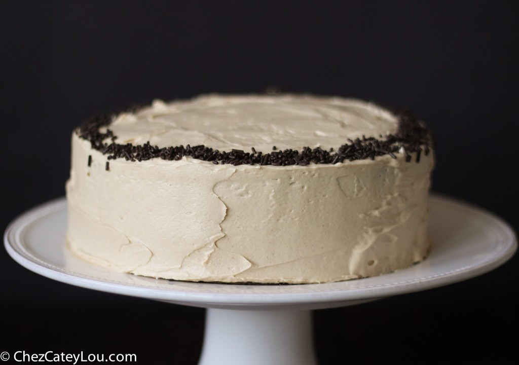 Chocolate Cake with Peanut Butter Buttercream Frosting | chezcateylou.com