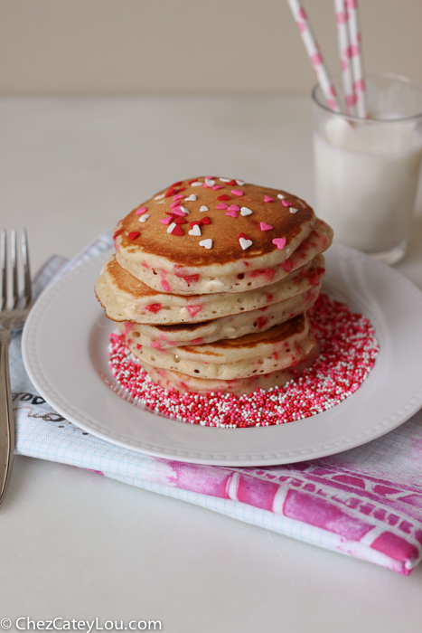 Valentines Day Funfetti Pancakes with Vanilla Greek Yogurt Sauce | ChezCateyLou.com
