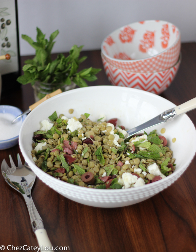 Lentil Salad with Olives, Mint and Feta | chezcateylou.com