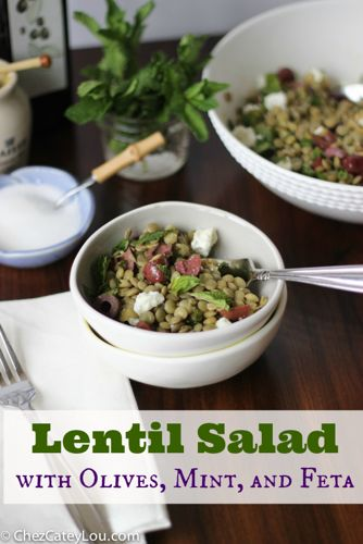 Lentil Salad with Olives, Mint, and Feta | chezcateylou.com