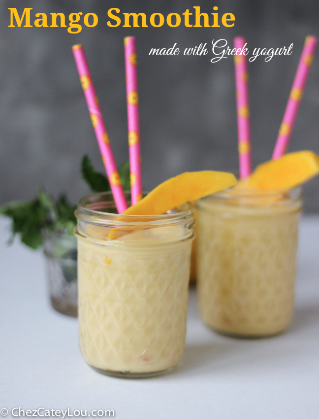 Frozen banana slices and mango greek yogurt make this mango smoothie ...