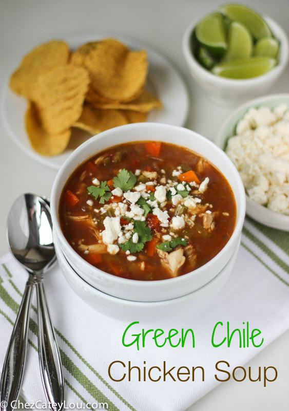 Green Chile Chicken Soup | ChezCateyLou.com #soup #recipe