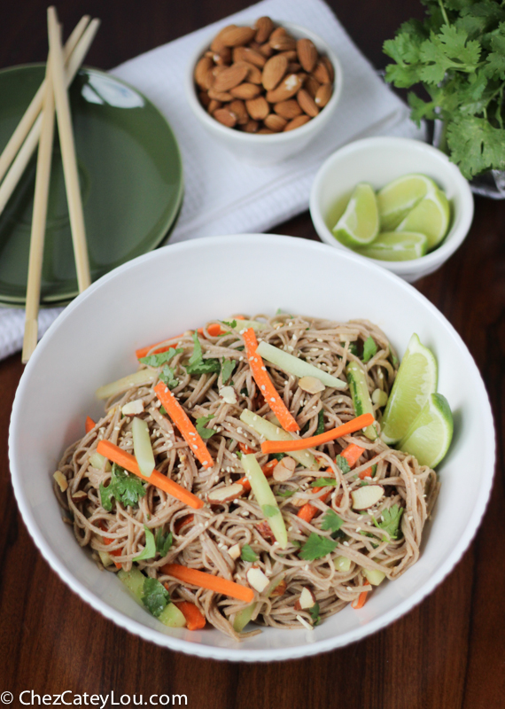 soba noodles with spicy almond butter sauce {& a giveaway