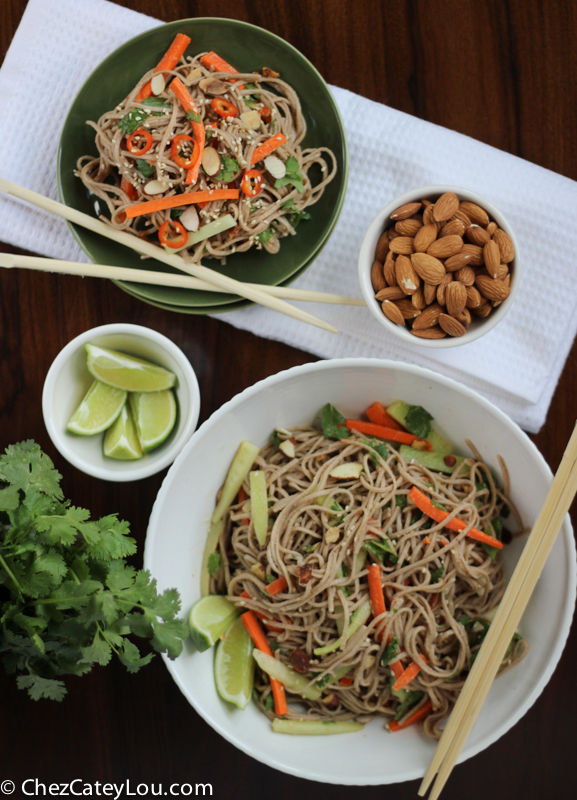 Soba Noodles with Spicy Almond Butter Sauce | ChezCateyLou.com