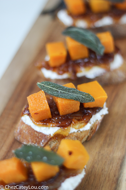 Butternut Squash Crostini with Ricotta, Cider Caramelized Onions, and ...