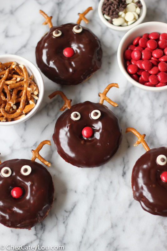 Chocolate Frosted Reindeer Donuts - perfect for Christmas breakfast! | ChezCateyLou.com