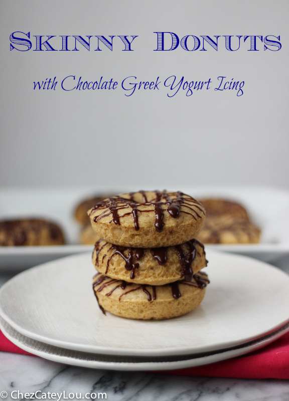 Skinny Donuts with Chocolate Greek Yogurt Icing | ChezCateyLou.com