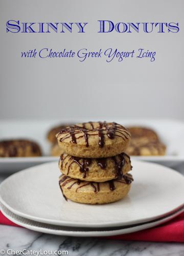 Skinny Donuts with Chocolate Greek Yogurt Icing   ChezCateyLou.com
