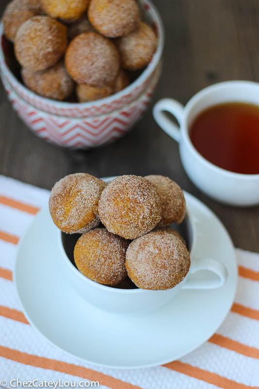 Baked Pumpkin Donut Holes can be made in a donut hole pan or a mini ...