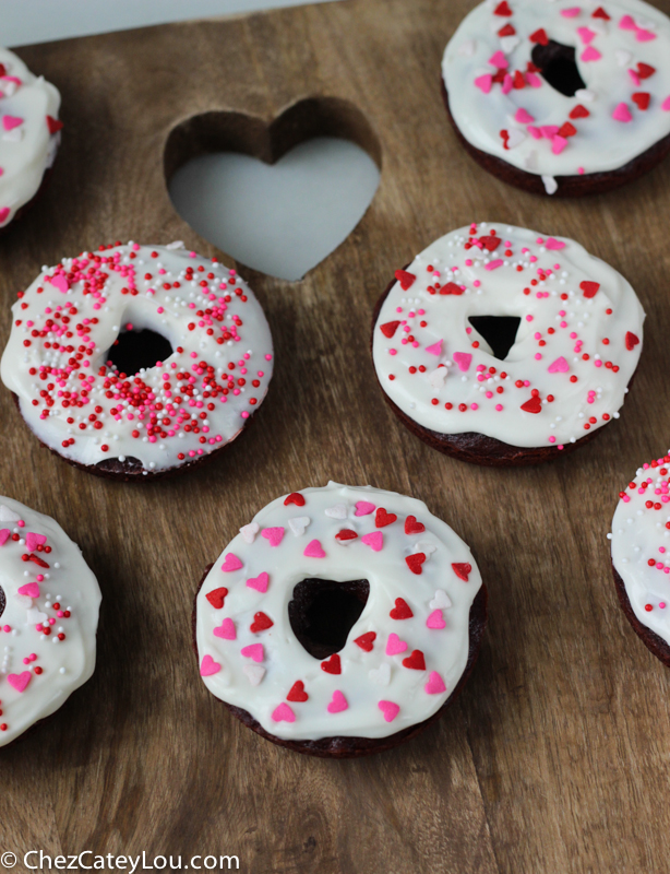 Red Velvet Donuts with Cream Cheese Icing | ChezCateyLou.com
