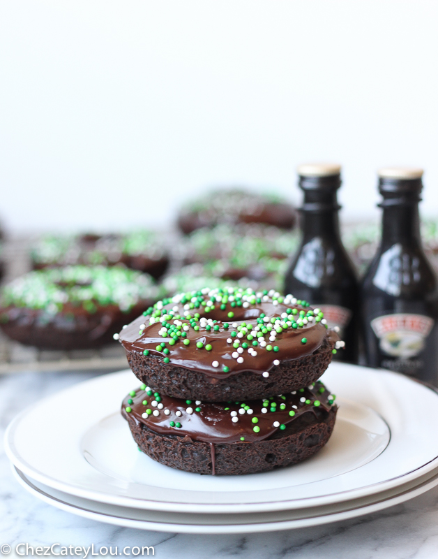 Guinness Chocolate Donuts with Baileys Icing | ChezCateyLou.com