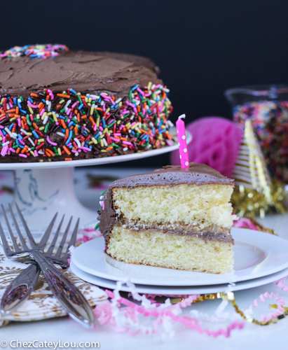 Yellow Birthday Cake with Chocolate Peanut Butter Frosting | ChezCateyLou.com