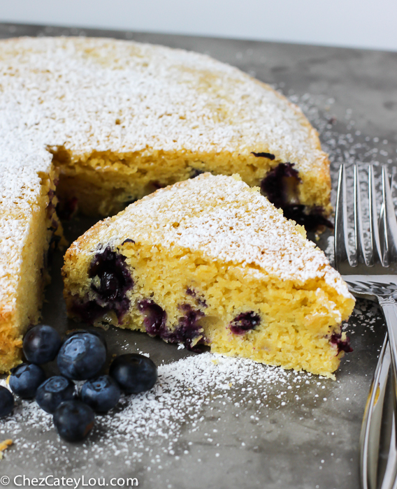 Cornmeal Olive Oil Blueberry Cake | http://ChezCateyLou.com