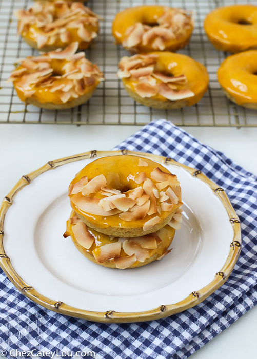 Baked Mango Coconut Donuts | http://ChezCateyLou.com