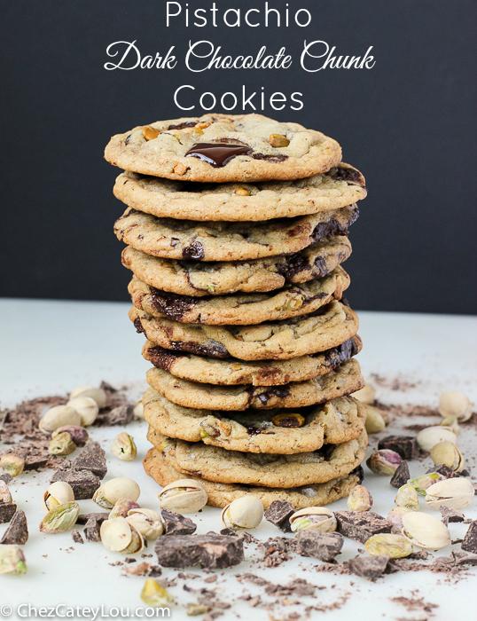 Pistachio Dark Chocolate Chunk Cookies | ChezCateyLou.com