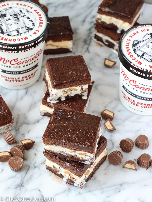 Peanut Butter Brownie Ice Cream Sandwiches | ChezCateyLou.com