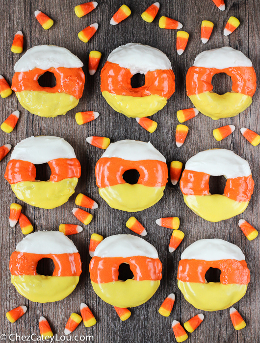 Candy Corn Donuts - the perfect breakfast treat to make for Halloween! |ChezCateyLou.com