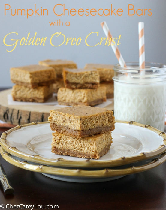 Pumpkin Cheesecake Bars with a Golden Oreo Crust | ChezCateyLou.com