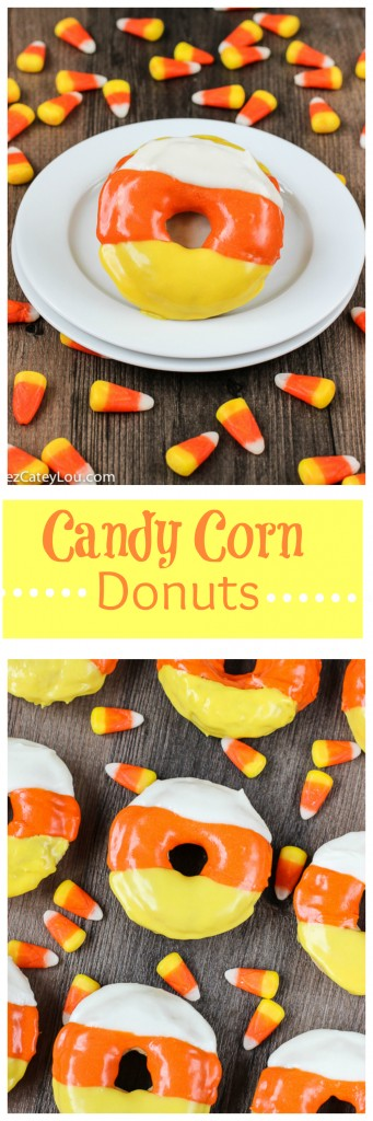 Candy Corn Donuts - perfect  for Halloween breakfast  | ChezCateyLou.com