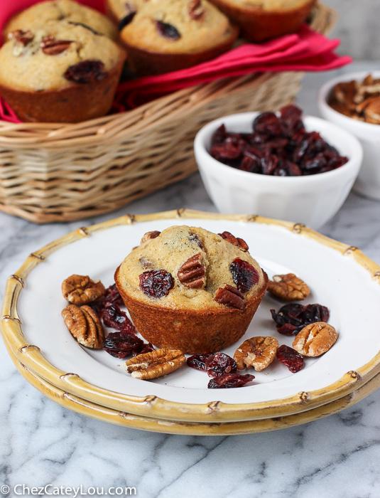 Orange Pecan Cranberry Muffins   ChezCateyLou.com