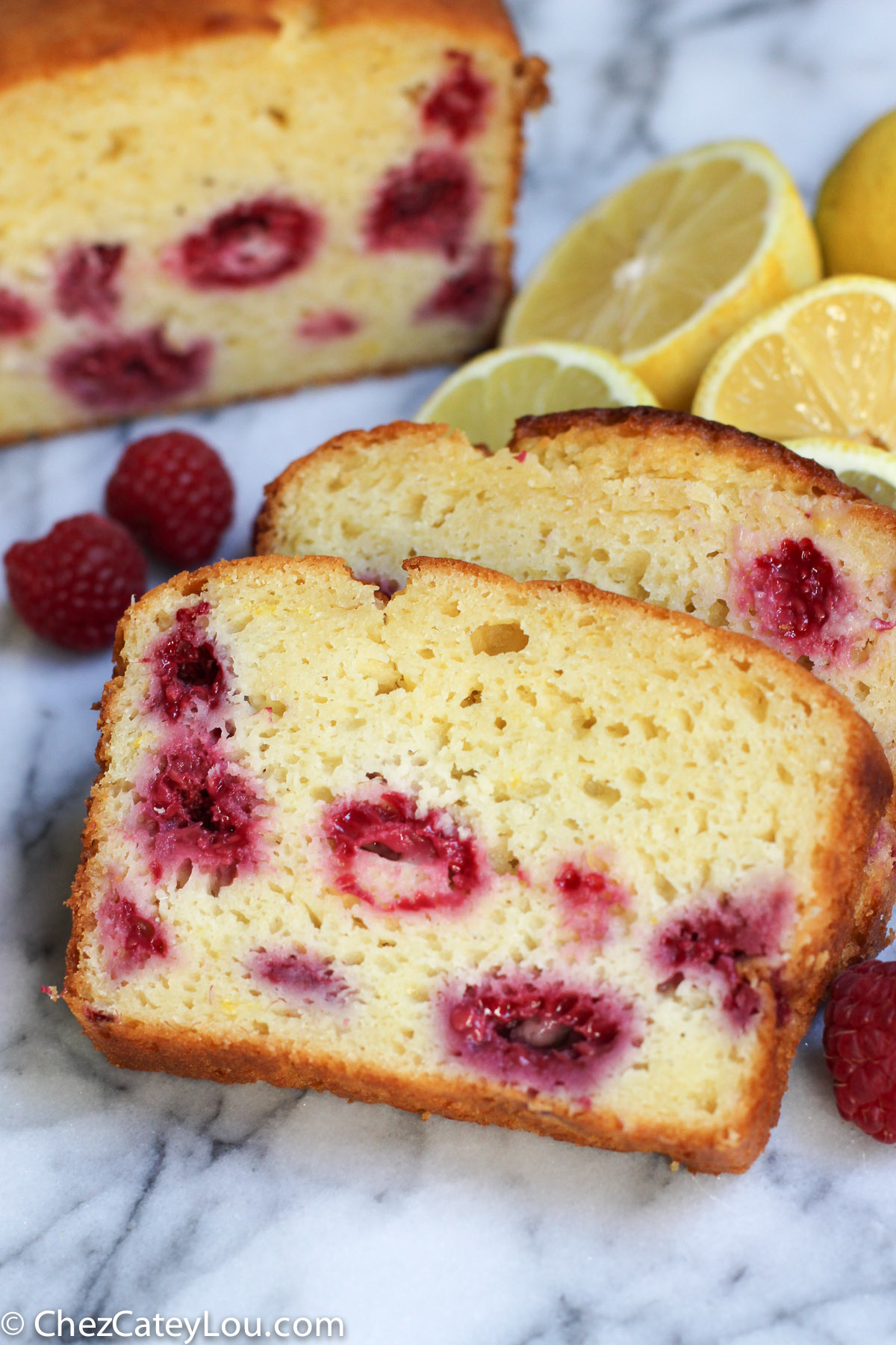 Lemon Raspberry Yogurt Cake | ChezCateyLou.com