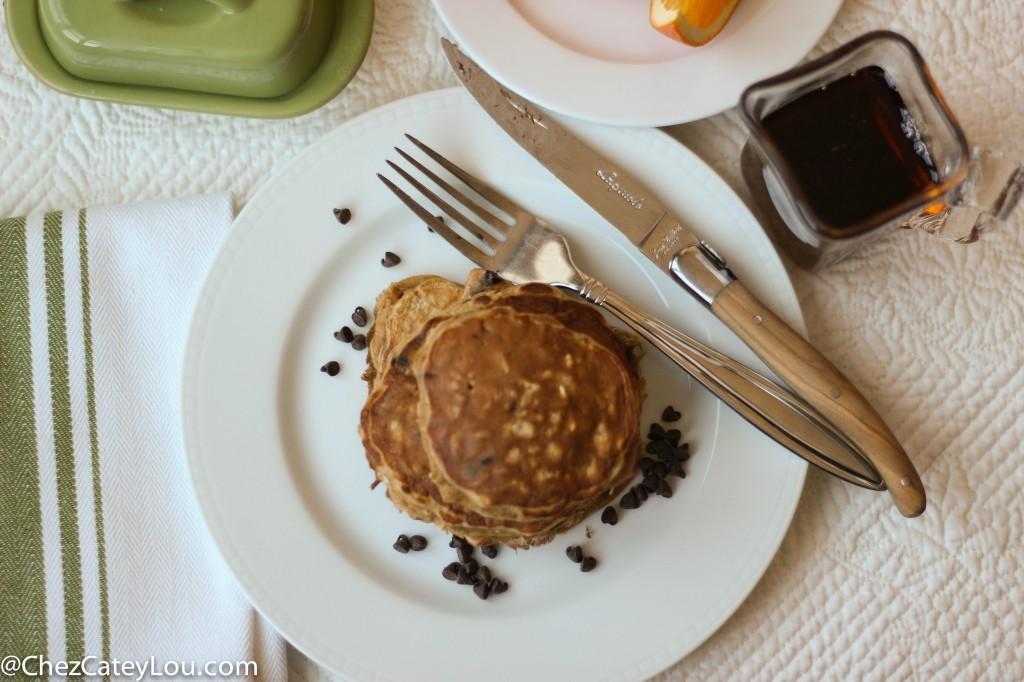 Single Serving Healthy Chocolate Chip Pancakes | chezcateylou.com