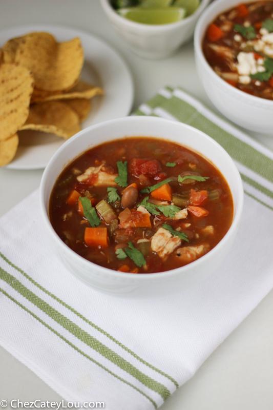 Green Chile Chicken Soup   ChezCateyLou.com #soup #recipe