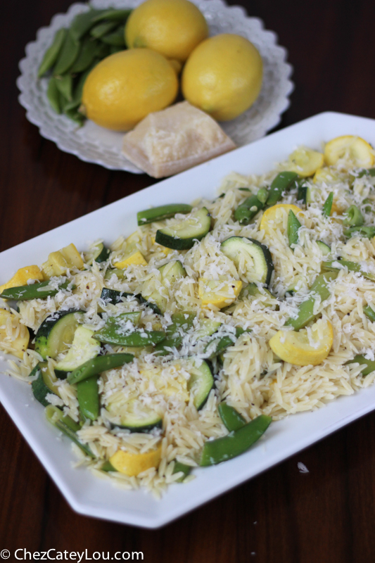 Orzo and Snap Pea Salad with Squash | chezcateylou.com #YahooFood #CleverGirls