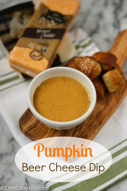 Pumpkin Beer Cheese Dip with Soft Pretzel Bites | ChezCateyLou.com