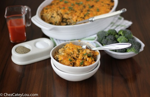 Buffalo Chicken Quinoa Bake with Broccoli and Kale | ChezCateyLou.com