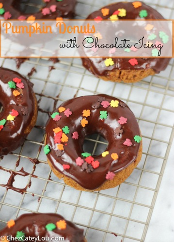 Pumpkin Donuts with Chocolate Icing | ChezCateyLou.com