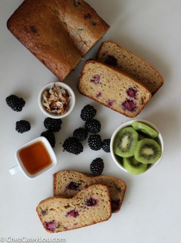 Healthy Blackberry Coconut Yogurt Bread | ChezCateyLou.com
