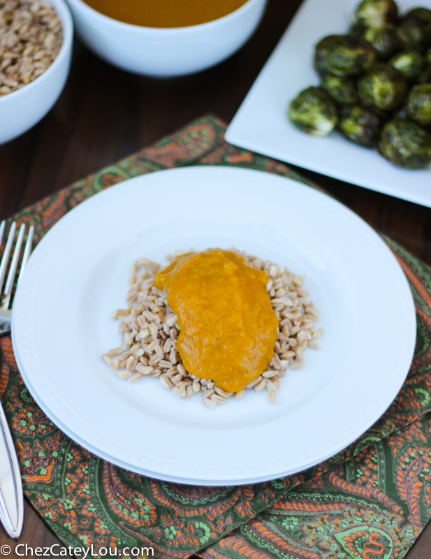 Kabocha Squash Curry with Roasted Brussels Sprouts and Farro | ChezCateyLou.com