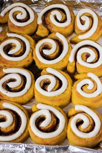 Pumpkin Cinnamon Rolls with Cream Cheese Frosting | ChezCateyLou.com