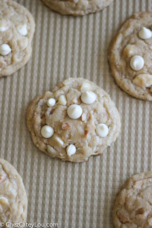 White Chocolate Coconut Macadamia Nut Cookies | ChezCateyLou.com