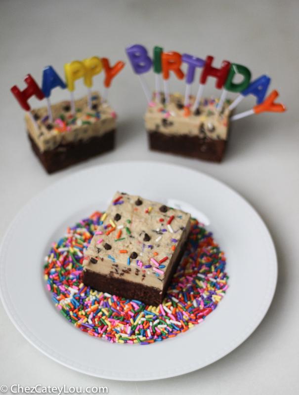 Funfetti Cookie Dough Brownies | ChezCateyLou.com