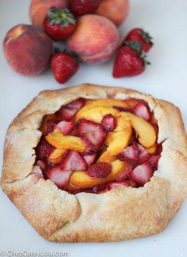 Rustic Strawberry Peach Tart | ChezCateyLou.com