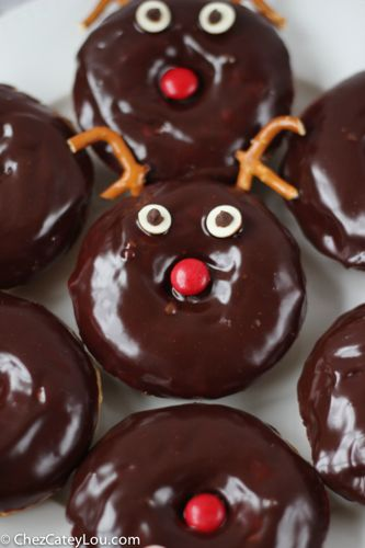 Chocolate Frosted Reindeer Donuts | ChezCateyLou.com