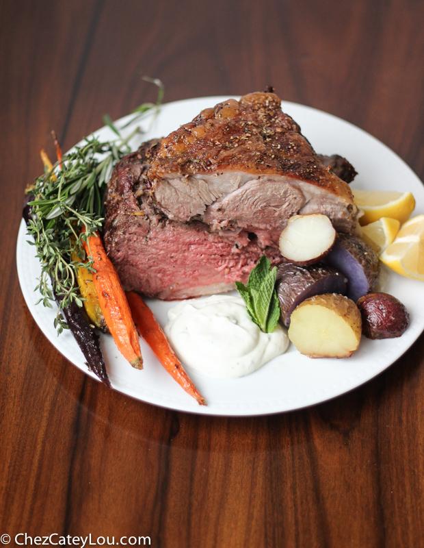 Mediterranean Spiced Roasted Boneless Leg of Lamb with a Feta Yogurt Sauce | ChezCateyLou.com