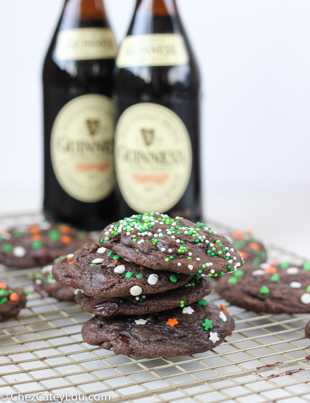 Double Chocolate Guinness Cookies - perfect for St. Patrick's Day! | ChezCateyLou.com