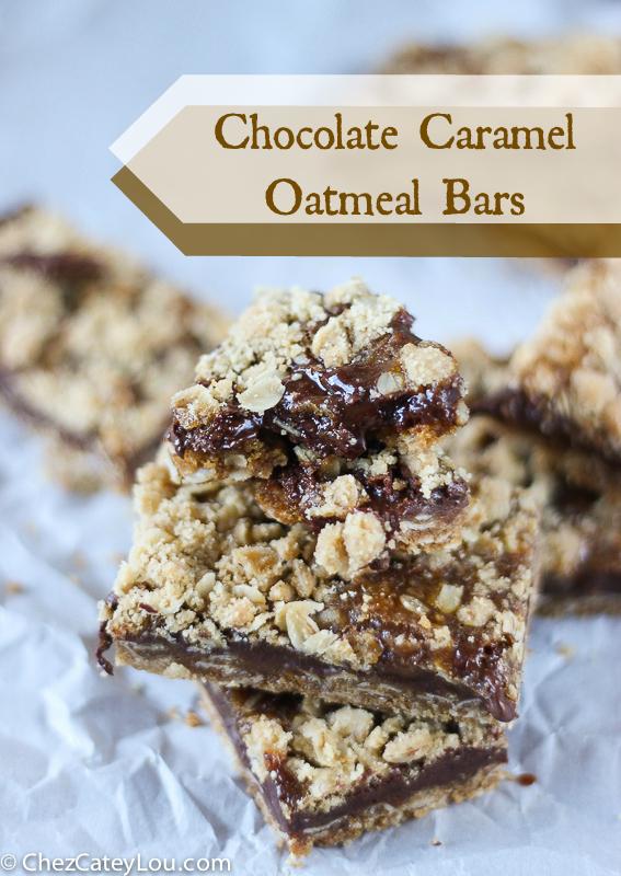 Chocolate Caramel Oatmeal Bars | ChezCateyLou.com