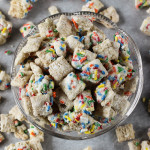 Cake Batter Puppy Chow | ChezCateyLou.com