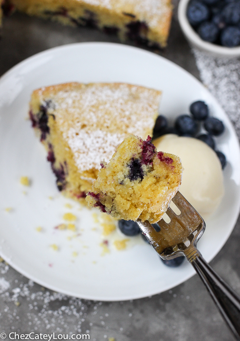 Cornmeal Olive Oil Blueberry Cake | http://ChezCateyLou.com