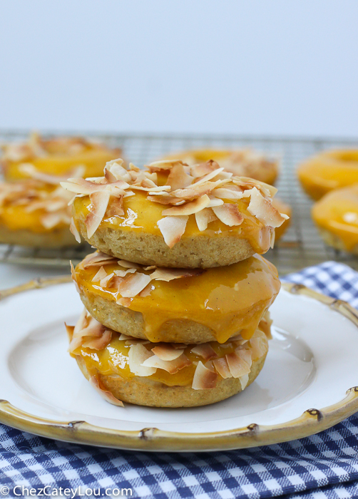 Baked Mango Coconut Donuts | http://ChezCateyLou.com